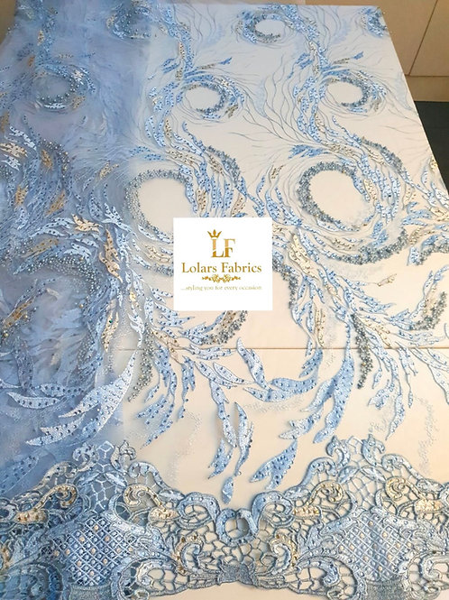 Sherie  Blue beaded luxury lace