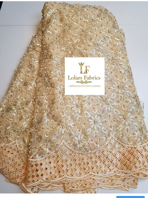 Elegant Gold beaded and sequinned tulle lace