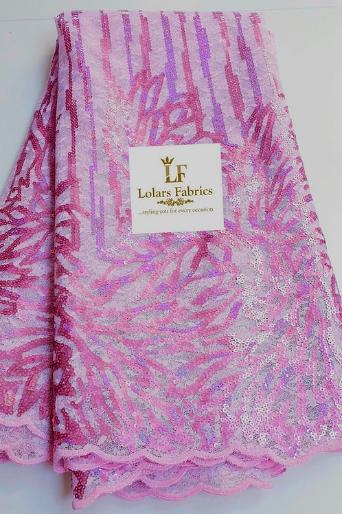 Moridunu Luxury Pink sequinned Lace fabtic