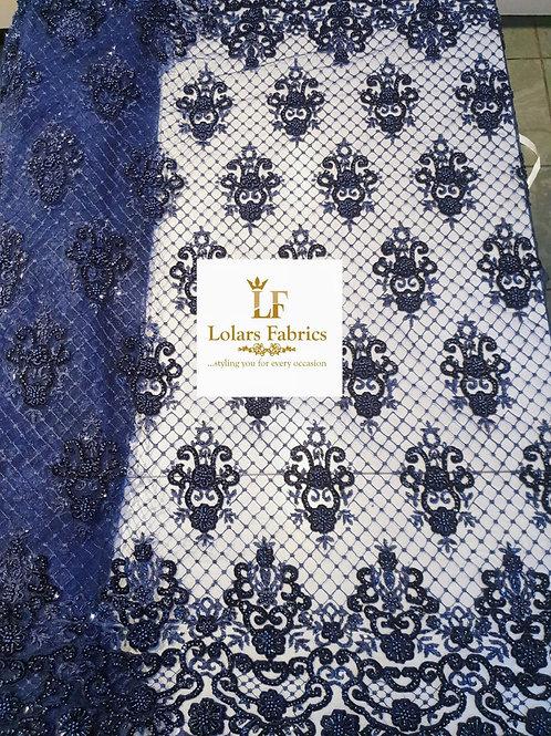 Regal Midnight Blue beaded luxury lace