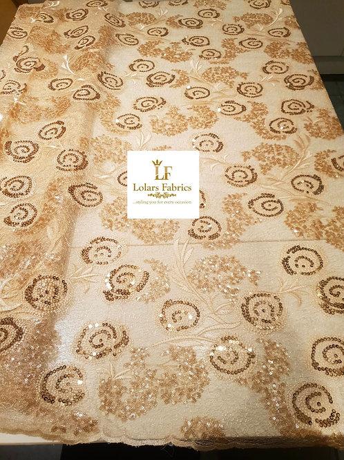 Morayo beige lush sequinned lace