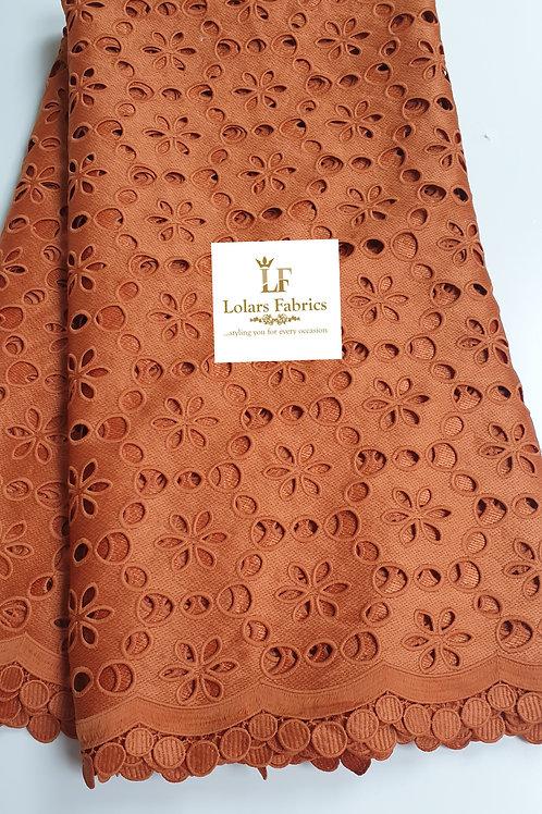 Temilewa Brown Orange pure cotton lace fabric