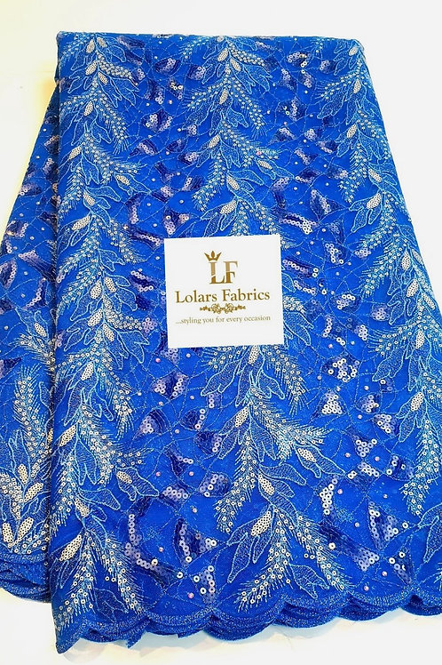 Temilola Luxury Blue embroidered sequinned lace