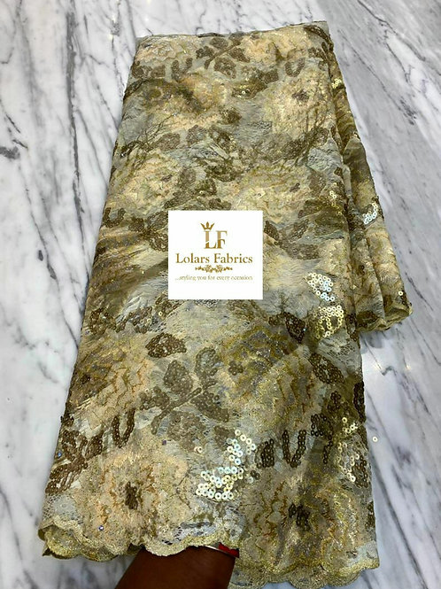Rimike Luxury Champagne gold chantilly sequinned lace fabric