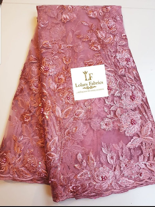 Morola Onion Pink beaded lace