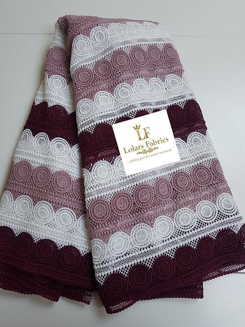 Stylish Soft Shades of Burgundy Guipure Lace