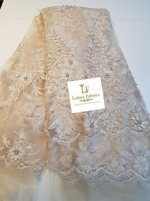 Luxury Stoned and Beaded Ivory Tulle Lace