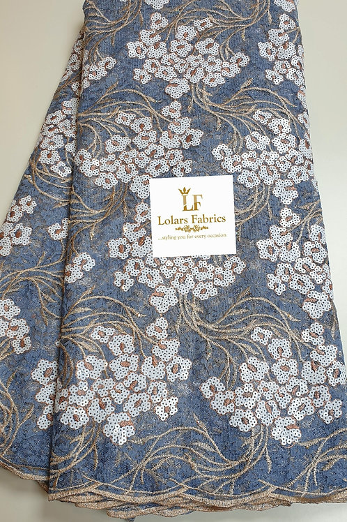 Luxury Yettie Powder Blue Chantilly Sequinned lace fabric