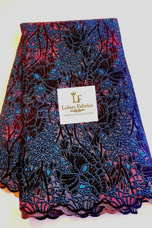 The Dame Teal Blue Velvet flocking glitter lace