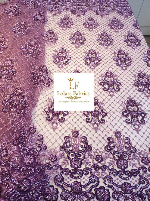 Regal Lilac beaded luxury lace