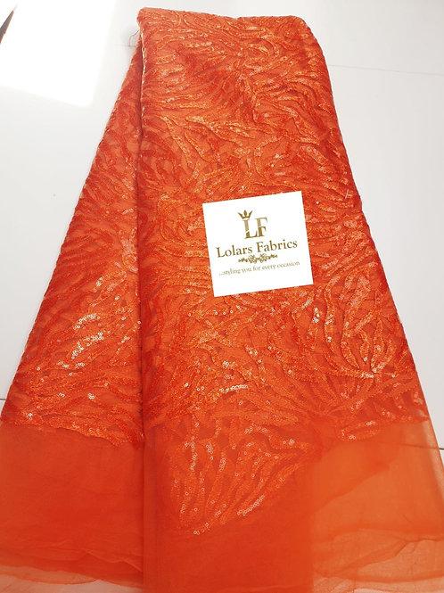 Adeola sequinned glam orange tulle lace
