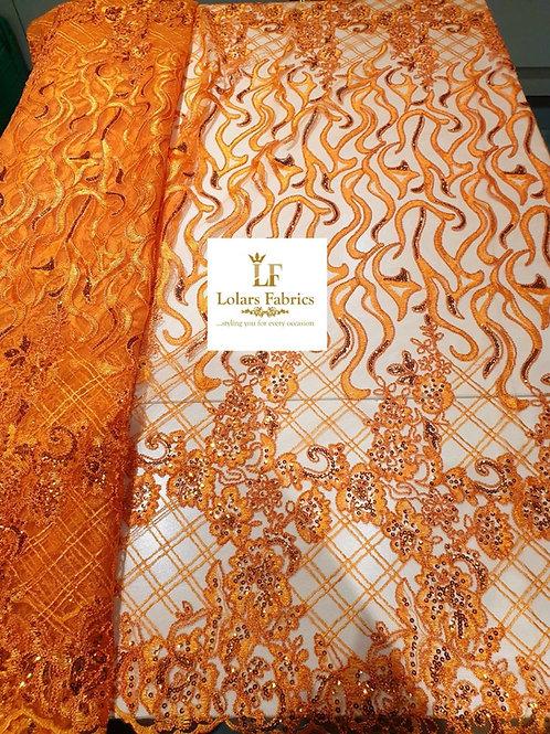 Adeayo Orange sequinned lace