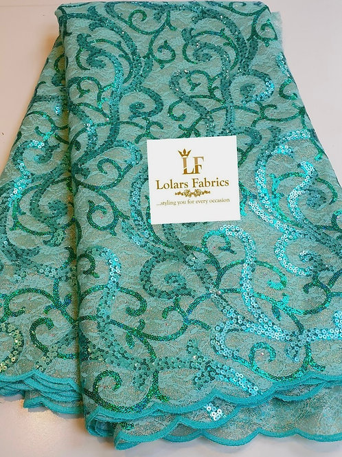 Adelola Luxury Mint Green Sequinned Lace fabric