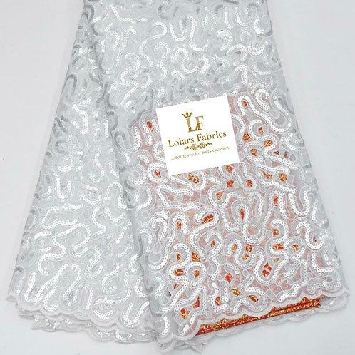 Rolake white handcut organza lace fabric