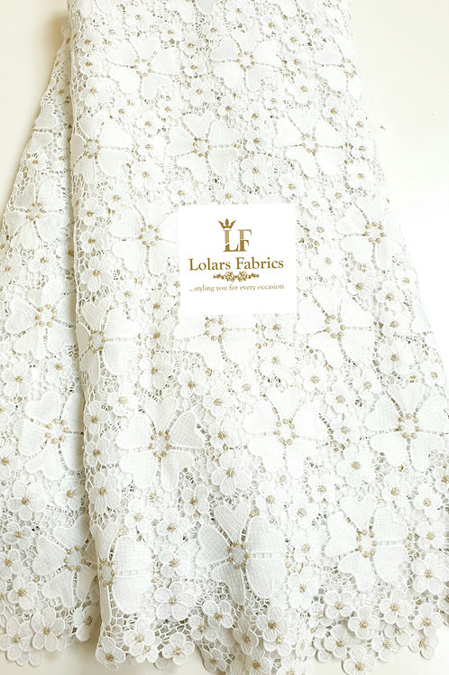 Ashake white petal guipure with gold embroidery lace