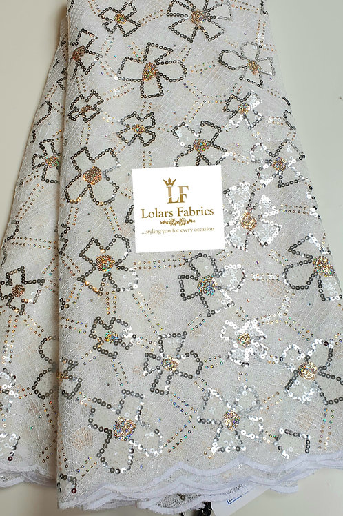 Oyinkan Luxury White silver and gold sequins on chantilly lace fabric