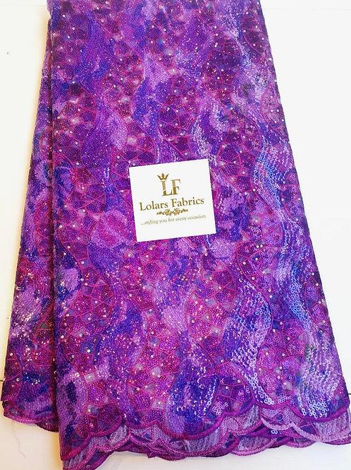 Adenike Luxury Purple sequinned lace fabric