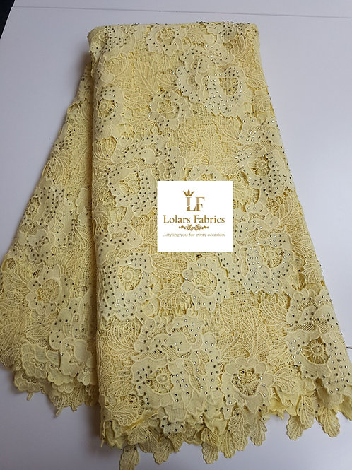 Yellow Tazanna Guipure Lace Fabric