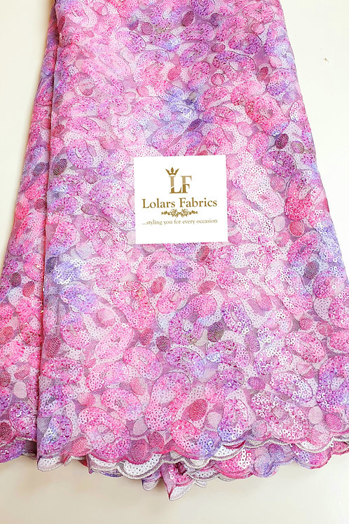 Rolake Summer Bloom in pink and purple hues lace fabric