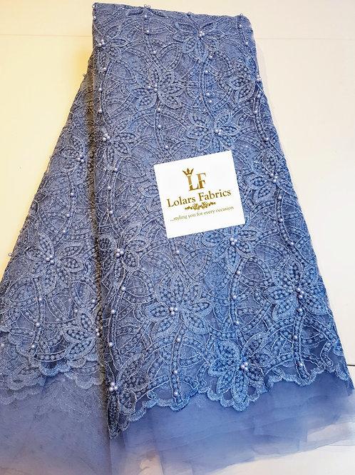 Abi dusty blue beaded lace