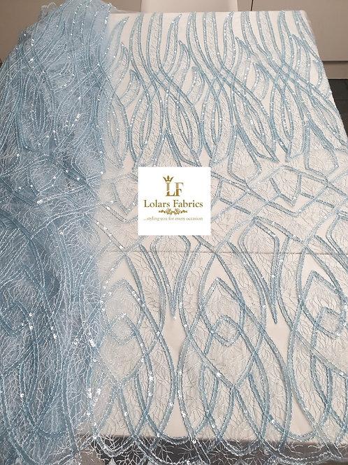 Belle Dusty blue sequinned lace