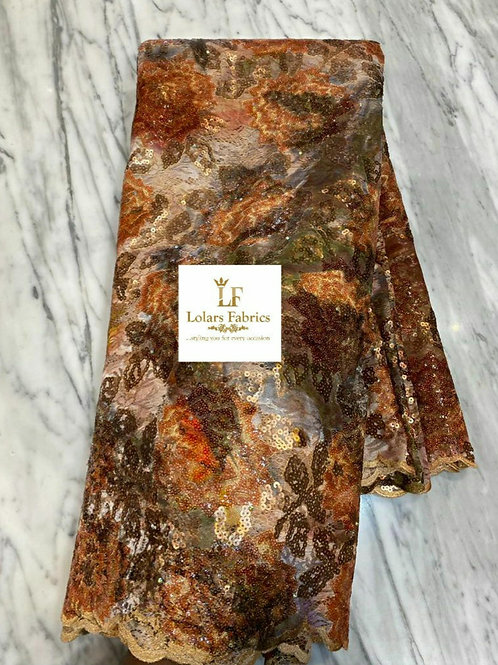 Rimike Luxury Burnt Orange chantilly sequinned lace fabric