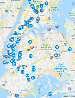 Map of all high schools where NYU CAC is a partner in 2020.