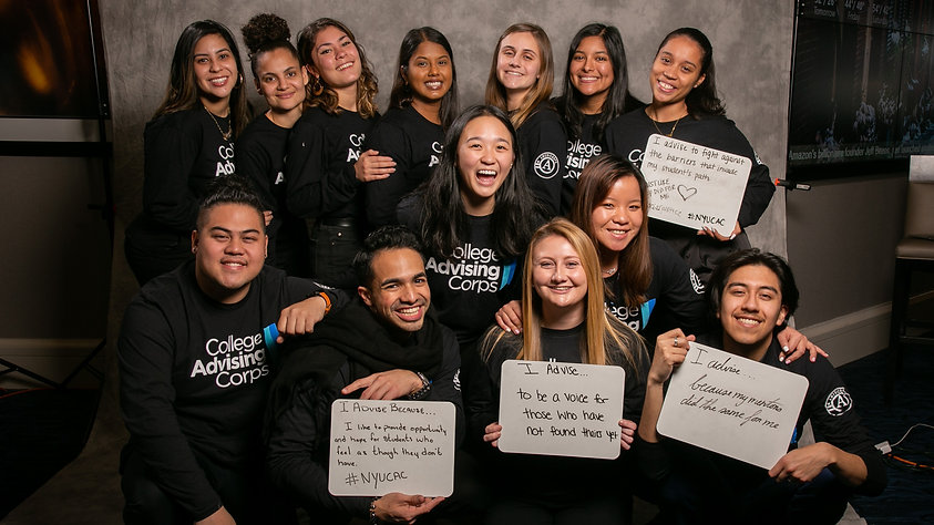 NYU CAC advisers wearing black shirts in a group photo.