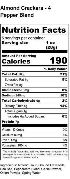 Almond Crackers - 4 Pepper Blend - Nutri