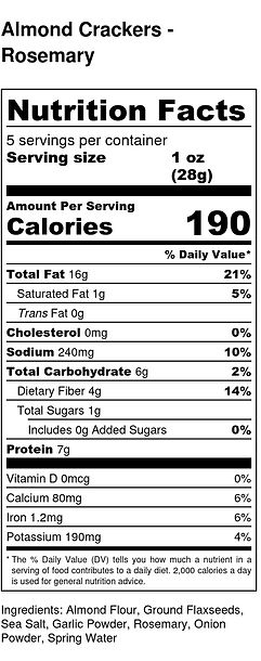 Almond Crackers - Rosemary - Nutrition L