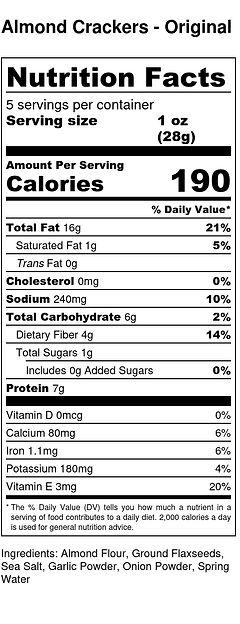 Almond Crackers - Original - Nutrition L