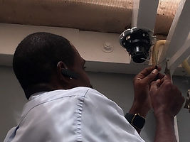 Technician Installing IP Camera