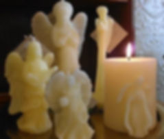 Angel candles molded from 100% beeswax