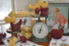Photo of a variety of barnyard inspired beeswax candles