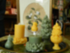 Photo of garden themed beeswax candles from Vermont HoneyLights