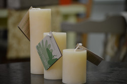 bees wax pillar candles