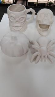 Skull Mug, Pumpkin, Spider, and Skull