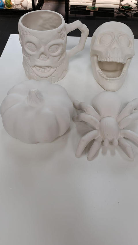 Skull Mug, Pumpkin, Spider, and Skull