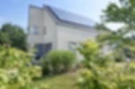 Gartenseite Einfamilienhaus Satteldach Photovoltaik