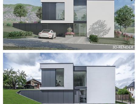 3D-Rendering vs. Realisierung am Beispiel eines Einfamilienhauses