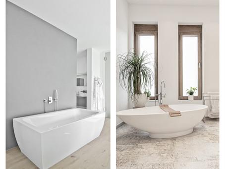Freistehende stylische Badewannen in luxuriösen Badezimmern.