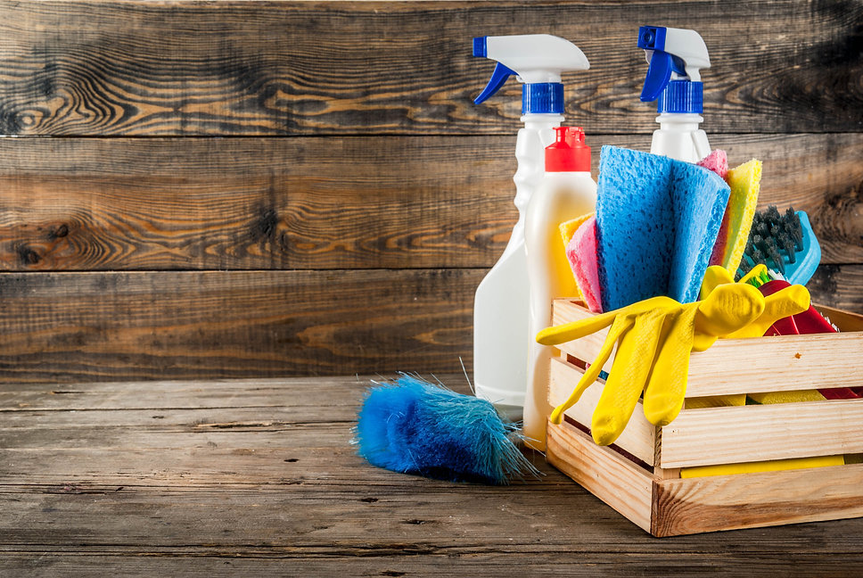 Spring cleaning concept with supplies, h