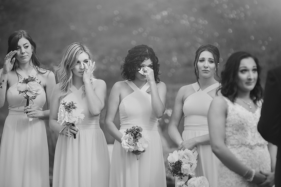 emotional candid bridesmaids