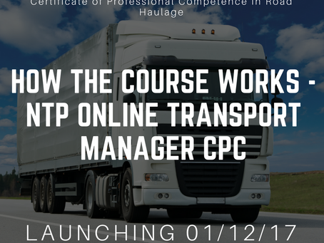 How NTP's online Transport Manager course works