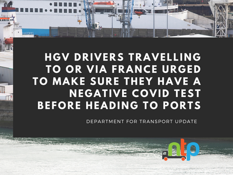 DfT urges hauliers to get a COVID test BEFORE heading to ports