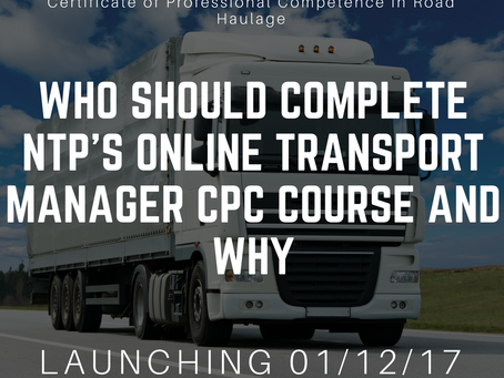 Who should take NTP's online Transport Manager Course and why?
