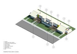 Casa Funcionários - Axonometria