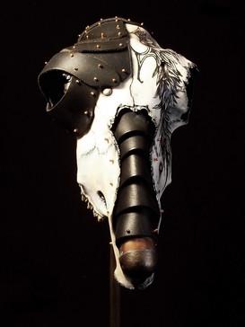 Tattooed Metal & Leather Sheep Skull