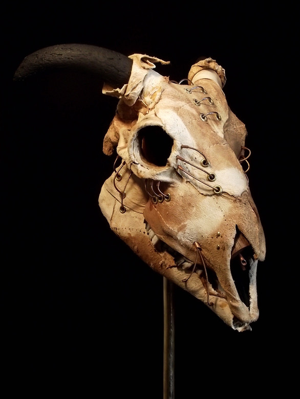 Hide Mtal and Leather Sheep Skull
