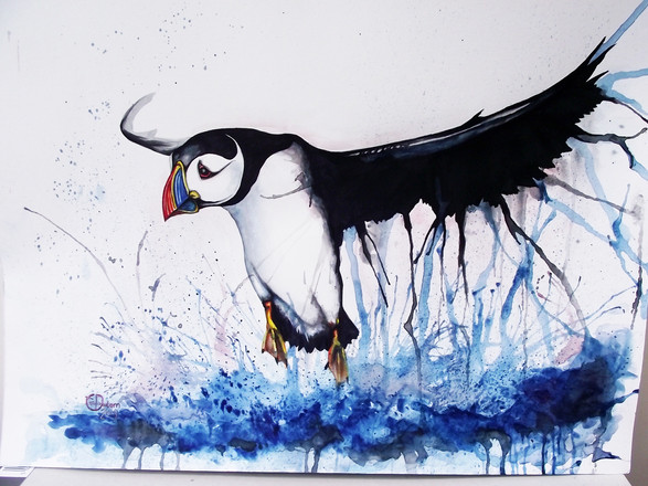A3 Puffin Watercolour